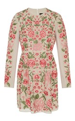 Needle And Thread Rose Beige Embroidered Mini Dress Floral