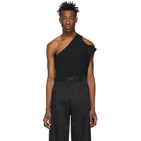 Telfar Black Asymmetric Tank Top