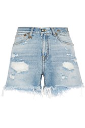 R 13 R13 Distressed Cut Off Denim Shorts Mid Denim