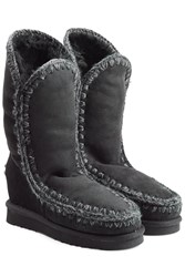 Mou Eskimo Wedge Tall Sheepskin Boots Black