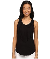 Michael Michael Kors Grommet Fringe Tank Top Black Women's Sleeveless
