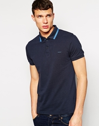 Dkny Herringbone Polo Shirt Navy