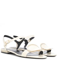 Roger Vivier Chips West Buckle Leather Sandals White