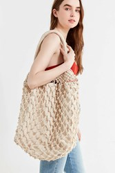 Urban Outfitters Macrame Slouchy Tote Bag Neutral