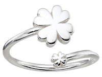 Alex And Ani Four Leaf Clover Ring Wrap Precious Metal Sterling Silver Ring