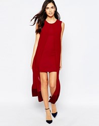 Jovonna What For Dress With Chiffon Overlay Wine Red