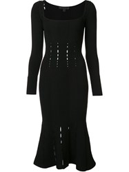 Cushnie Et Ochs Square Neck Fitted Dress Black