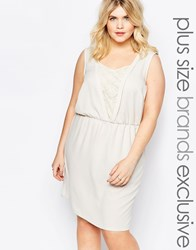 Junarose Plunge Dress With Lace Insert Cream