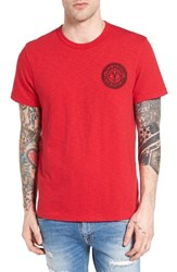 True Religion Men's Brand Jeans Buddha Embroidered T Shirt Ruby Red
