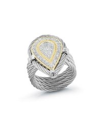 Alor 18K Stacked Teardrop Diamond Ring Size 7