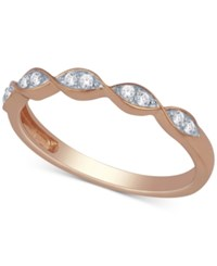 Macy's Diamond Scalloped Stackable Band 1 10 Ct. T.W. Rose Gold