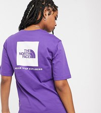 The North Face Boyfriend Red Box T Shirt In Purple Exclusive At Asos