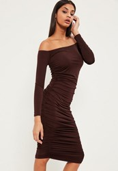 Missguided Brown Bardot Ruched Midi Dress Chocolate