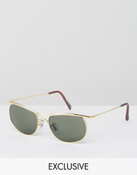 Reclaimed Vintage Inspired Square Sunglasses In Gold Gold