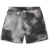 Saturdays Surf Nyc Timothy Slim Fit Mid Length Printed Swim Shorts Black