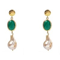Latelita London Hydra Baroque Pearl And Green Onyx Earring Gold Green