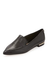 Ivanka Trump Zariner Pointed Toe Leather Flat Black