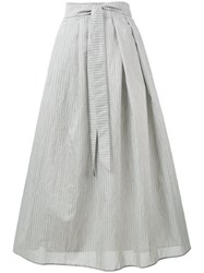 Fabiana Filippi Mid Length Pinstripe Skirt Women Cotton Polyamide Polyester 46 Grey
