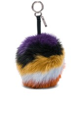 Fendi Rainbow Fox Fur Pom Pom Charm In Stripes Purple Yellow Orange Black Stripes Purple Yellow Orange Black