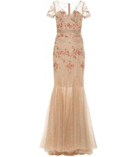Costarellos Embellished Tulle Gown Gold