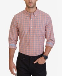 Nautica Men's Big And Tall Coral Plaid Shirt Pale Coral