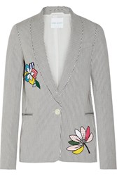 Mira Mikati Appliqued Striped Stretch Cotton Blazer White