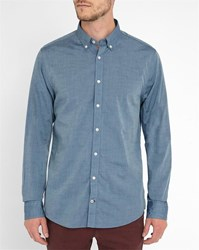 Tommy Hilfiger Blue Chambray Button Placket Trim Shirt
