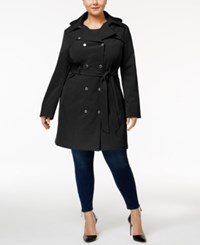 Calvin Klein Plus Size Hooded Softshell Trenchcoat Black