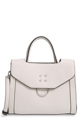 Leith Metal Detail Faux Leather Satchel Grey
