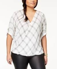 Amy Byer Bcx Trendy Plus Size Printed Tab Sleeve Blouse White Grid