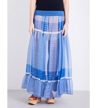 Stella Mccartney Metallic Thread Silk Blend Maxi Skirt Blue