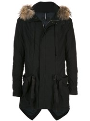 The Viridi Anne Structured Fur Parka Black