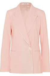 Adeam Double Breasted Satin Trimmed Wool Blend Blazer Baby Pink Gbp