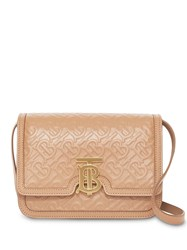 Burberry Small Monogram Leather Tb Bag Neutrals