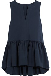 Tibi Seersucker Cotton Blend Peplum Top Navy