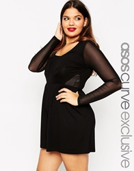 Asos Curve Playsuit With Sexy Mesh Black