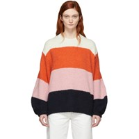 Acne Studios Pink And Navy Striped Kazia Sweater