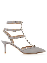 Valentino Rockstud Leather Pumps Grey