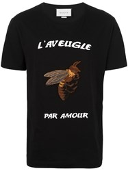 Gucci Bee Embroidered T Shirt Black