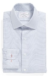 Lorenzo Uomo Men's Big And Tall Trim Fit Check Dress Shirt White Blue
