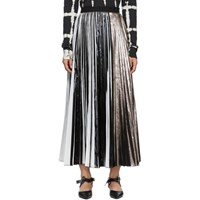 Proenza Schouler Black And Silver Foil Pleated Skirt