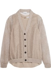 Brunello Cucinelli Sequined Open Knit Cashmere Cardigan Mushroom