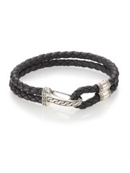 John Hardy Woven Leather And Sterling Silver Bracelet Dark Grey