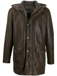 Barba Mid Length Jacket Brown