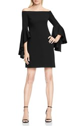 Vince Camuto Women's Ruffle Sleeve Off The Shoulder Dress Rich Black
