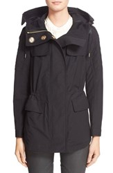 Women's Burberry Brit 'Parkfield' Hooded Drawstring Waist Jacket Black