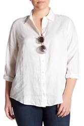 Workshop Long Sleeve Button Down Linen Shirt Plus Size White