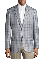 Brioni Plaid Long Sleeve Sport Coat Black Grey
