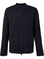 Valentino Camubutterfly Thick Knit Bomber Jacket Blue