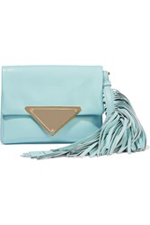 Sara Battaglia Teresa Fringed Leather Clutch Blue
